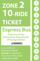 <b>10-Ride Ticket/Express Routes Without Fare Boxes Zone 2</b>