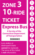 <b>10-Ride Ticket/Express Routes Without Fare Boxes Zone 3</b>
