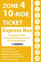 <b>10-Ride Ticket/Express Routes Without Fare Boxes Zone 4</b>