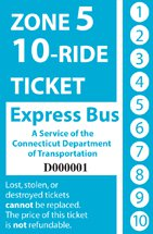 <b>10-Ride Ticket/Express Routes Without Fare Boxes Zone 5</b>