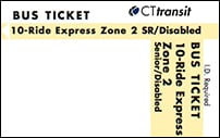 <b>10-Ride Ticket/Senior-Disabled | 2 Zones Express</b>