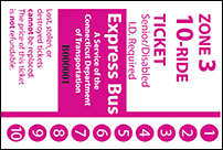 <b>10-Ride Ticket/Senior-Disabled | 3 Zones Express Routes Without Fare Boxes</b>