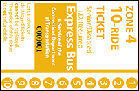 <b>10-Ride Ticket/Senior-Disabled | 4 Zones Express Routes Without Fare Boxes</b>