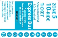 <b>10-Ride Ticket/Senior-Disabled  | 5 Zones Express Routes Without Fare Boxes</b>